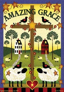 Amazing Grace Cross House Flag - Radiant Rod Pocket
