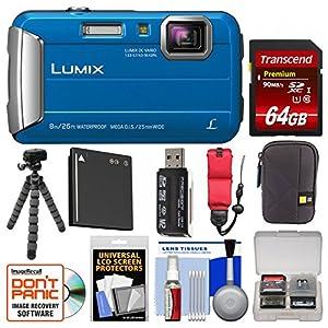 Panasonic Lumix DMC-TS30 Tough Shock & Waterproof Digital Camera with 64GB Card + Case + Battery + Flex Tripod + Float Strap + Kit