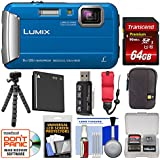 Panasonic Lumix DMC-TS30 Tough Shock & Waterproof Digital Camera (Blue) 64GB Card + Case + Battery + Flex Tripod + Float Strap + Kit