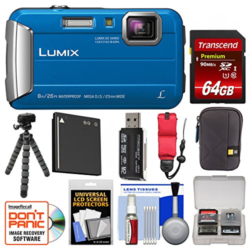 Panasonic Lumix DMC-TS30 Tough Shock & Waterproof Digital Camera (Blue) with 64GB Card + Case + Battery + Flex Tripod + Float Strap + Kit