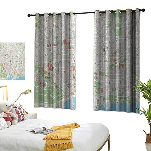 - lace Curtains Map,Map of Barcelona City Streets Parks Subdistricts Points of Interests,Beige Lime Green Pale Blue 72