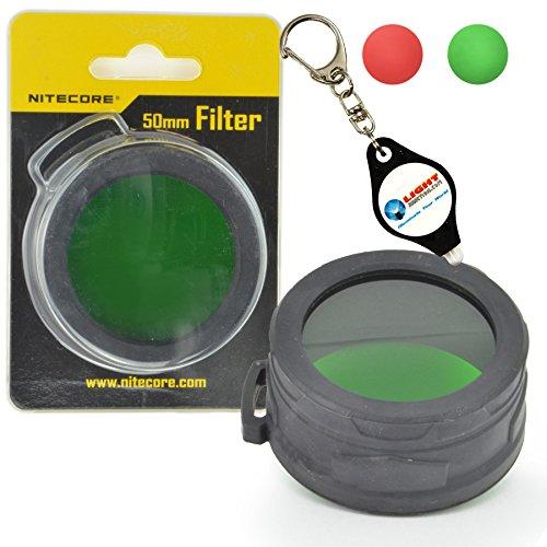 Nitecore NFG50 NFR50 50mm Green or Red Filter for LED Flashlights Plus a LightJunction Keychain Light (Nitecore Red Lense)