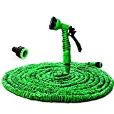 BININBOX Expandable Garden Water Hose With 3 Connectors Ultralight Flexible Pipe w/Spray Nozzle (100FT, Green)