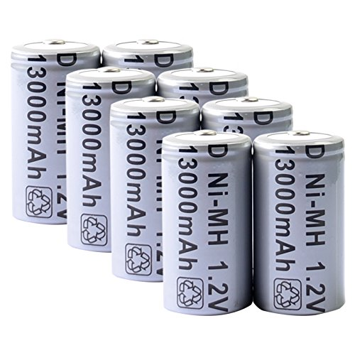 Power Battery Nimh Hi (Toyofmine 8pcs D Size Rechargeable Battery D Type 13000mAh 1.2V Ni-MH Cell Grey)