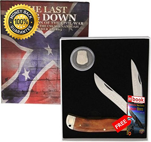 (Rough Rider Folding Utility Knife 1533 Civil War Series Satin Finish Folding Knife 2 Blades razor sharp knife strong carbon blade survival camping hunting EDC military knife eBOOK by MOON KNIVES)