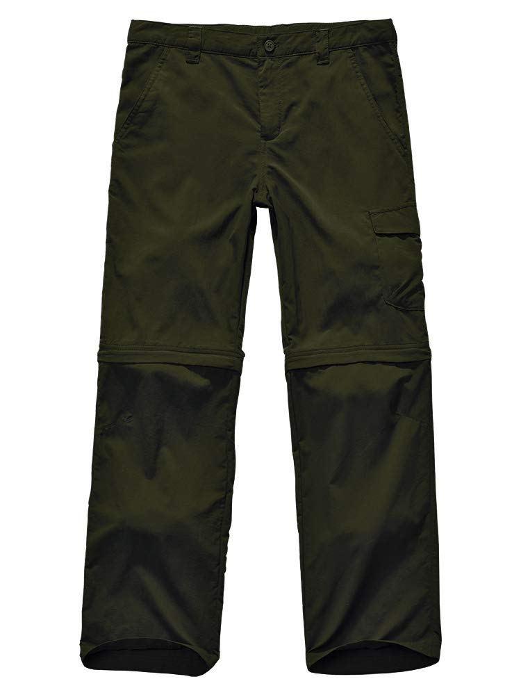 Kids Boy's Outdoor Quick Dry Convertible Pants, Hiking Camping Fishing Zip Off Trousers #9011-Army Green, M by Jessie Kidden