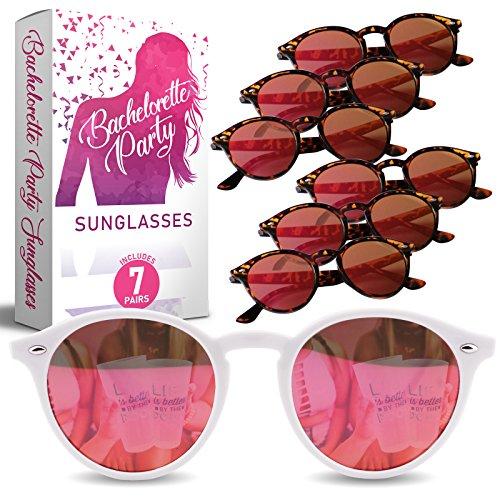 Bachelorette Party Sunglasses for Team Bride - 7 Bride Tribe Mirrored Pink Lens Glasses - Perfect Bridesmaids Favors, Bridal Shower Ideas - Instagram Worthy Bachelorette Party Decorations/Supplies