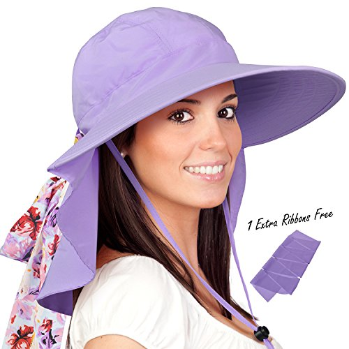Womens Sun Hats Neck Flap Large Brim UV Protection Foldable Fishing Hiking Cap ()