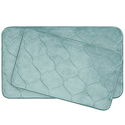 "Bounce Comfort Palace Extra Thick Premium Plush 2 Piece Memory Foam Bath Mat Set with BounceComfort Technology, 20"" x 34"" Aqua - Includes (2) Bounce Comfort plush memory foam bath mats Small set includes (2) 17x24"" bath mats, Large set includes (1) 17x24"" and (1) 20x34"" Non-skid backing, non-slip surface for added safety - bathroom-linens, bathroom, bath-mats - 51MQzcZv2GL. SS400  -"