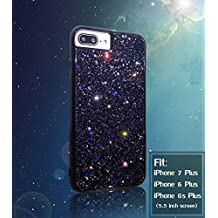 iPhone 7 Plus Case Shiny Glitter Sequin Hard Shell + TPU Rubber Gel Case Cover For Apple iPhone 7 Plus 5.5 inch (Black)