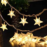 Christmas Lights, Sttech1 40 LEDs Battery Powered Star String Lights, Outdoor Solar Decorative Lights, Christmas Fairy String Lights for Home Garden Party Wedding Birthday Indoor Outdoor Decoration