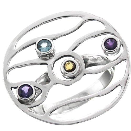 RingSize 6 Citrine Blue Topaz Amethyst Wire Frame 925 Sterling Silver Ring, US 6, 6.5, 8.5 -