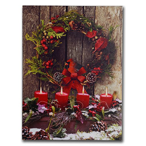 NIKKY HOME Christmas Wreath Decorative Lighted Wall Art Prints
