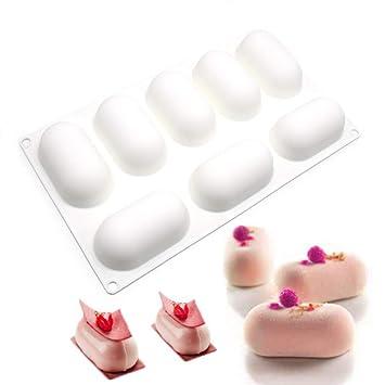 molde pastel 3d, moldes 3d molde silicona para postres pudín,8 cavidades Forma de cápsula, blanco: Amazon.es: Hogar