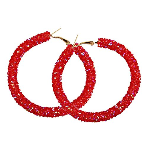 Red Circular Earring - Hoop Earrings, Women 1 Pair Fashion Big Circular Shiny Sequins Charming Earrings Jewelry 5 Colors (Red)