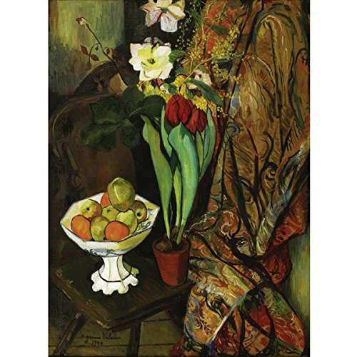 Suzanne Valadon - Nature Morte Aux Tulipes Et Compotier De Fruits, Size 24x36 inch, Gallery Wrapped Canvas Art Print Wall décor
