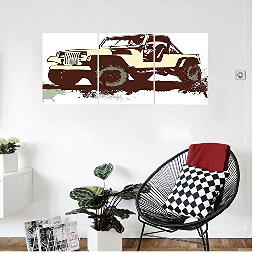 Strainer Jeep (Liguo88 Custom canvas Grunge Decor Retro Pop Art Vintage Military Car Jeep on the Road Adventure Graphic Wall Hanging for Bedroom Living Room Mint Brown Cream)