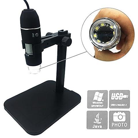Digital Microscope, soled Portable USB Digital Microscope Mini Microscope Camera, 8 LED 2MP USB 3D Digital Zoom Microscope Endoscope Magnifier PC Video (3 8 Scope Mount Adapter)