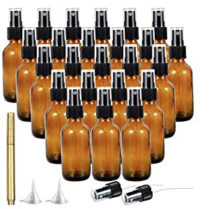 Small Spray Bottle, YULEER 2 Ounces Amber Glass Spray Bottles for for Essential Oils, Perfume Oils, Body Lotion, Moisturizer, Creams, Cleaning Solutions or Other Liquids 24 Pack