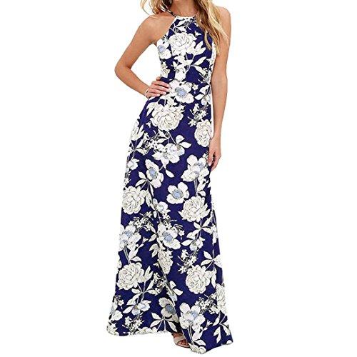 Vestido De Mujer, Xinan Verano Boho Long Maxi Vestido De Fiesta De Noche Beach Dresses Sundress Azul Oscuro