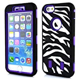 iPhone 6s Case,iPhone 6 Case,Quola Deluxe Fashion Zebra Print Designer Silicone Impact Hybrid Armor Defender Shockproof Case C Combo for Iphone 6 (4.7inch) with Free Screen Protector and Stylus(#Purple&Black)