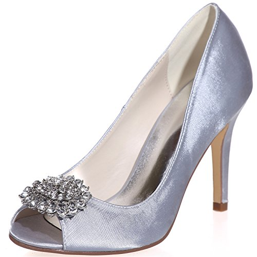 Clearbridal Women's Satin Bridal Shoes Open Peep Toe Pump High Court Shoes with Crystal for Wedding Prom Party ZXF5623-17 Sliver