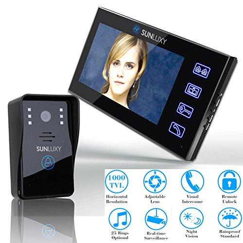 """SUNLUXY 7"""" LCD Monitor Tür Video Video-Türgegensprechanlage mit flachem Touchscreen-Panel Türklingel Komplett Set Nachsicht"""