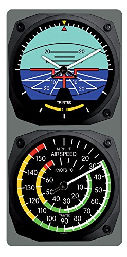 (Trintec Classic Aircraft Horizon Wall Clock/Airspeed Thermometer (°F) Combo)