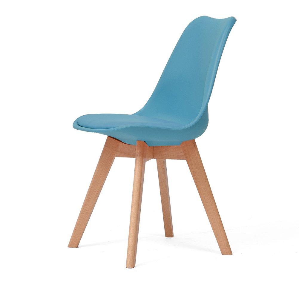 ダイニングチェア背もたれ家庭用リビングルームオフィスソリッドウッドシンプルモダンチェア (色 : Blue, サイズ さいず : Set of 2) B07F9YG8H9 Set of 2|Blue Blue Set of 2