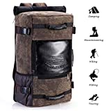 Travel Backpack,Large Canvas Leather Carry-On Luggage Clothing Bag,Outdoor Hiking & Camping Rucksack,Multipurpose Shoulder Waterproof Bag Pack for Men Women
