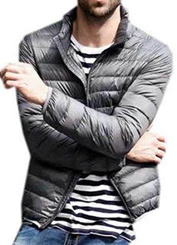 Solid Down Short Mens Jacket Lightweight Gray EKU Coats XS 5wFqz6n