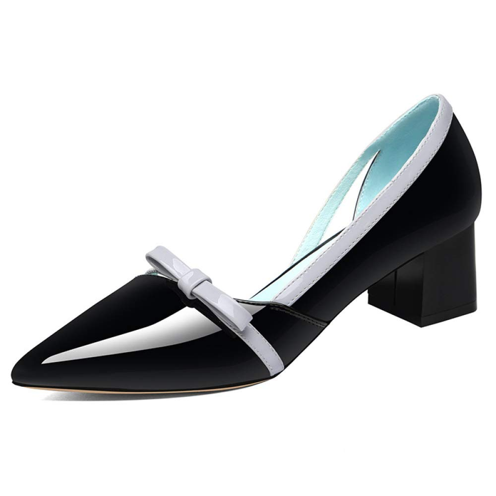 MAKAFJ Herbst-Dame Shallow Mid Heel Office Arbeit Lackleder Spitz Klobige Schuhe