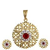 Bollywood Designer Gold Tone Ruby Pink Zircon Pendant Earring Indian Jewelry