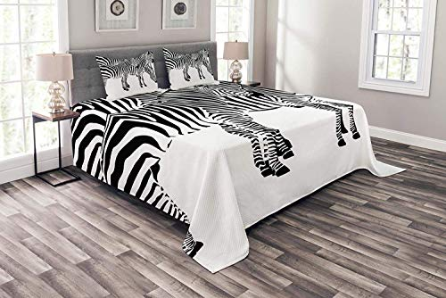 OUR WINGS Safari Coverlet Set Queen Size, Zebras African Animals Skin Print with Stripes Jungle Wildlife Picture Artwork,Quilted 4 Piece Bedspread Set with 2 Pillow Shams, Black and White