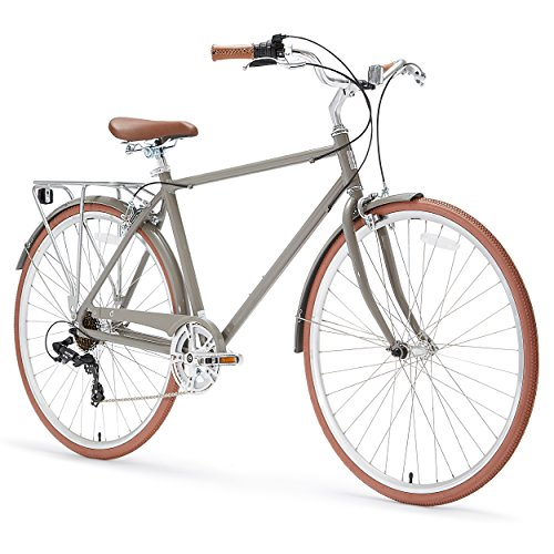 Road Vintage Bicycles (sixthreezero Ride in the Park Men's 7-Speed City Road Bicycle, Grey, 18