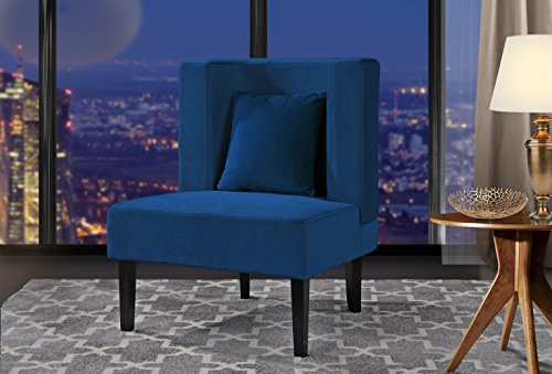 Accent Chair for Living Room, Upholstered Armless Velvet Chairs with Back Cushion and Natural Wooden Legs (Dark Blue)