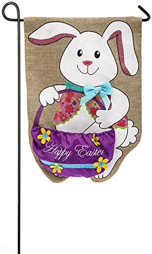Evergreen Easter Bunny & Basket Burlap Garden Flag, 12.5 x 18 inches Bunny Easter Garden Flag