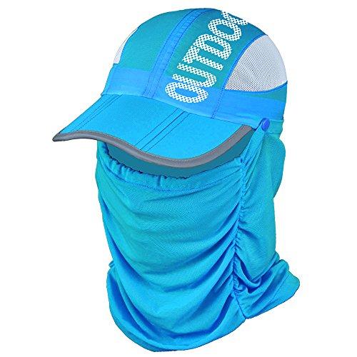 EIGER HORN(アイガーホーン) フェイスマスク 帽子 レディース 日よけ つば広 帽子 ゴルフ スポーツ (スカイブルー)