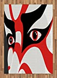 Kabuki Mask Area Rug by Ambesonne, Japanese Drama Art Theme Kabuki Face with Dramatic Eyes Cultural Theater, Flat Woven Accent Rug for Living Room Bedroom Dining Room, 5.2 x 7.5 FT, Black White Red