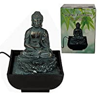 INDOOR TABLE SITTING BUDDHA WATER FOUNTAIN DESKTOP FEATURE CALMING DECOR 17CM
