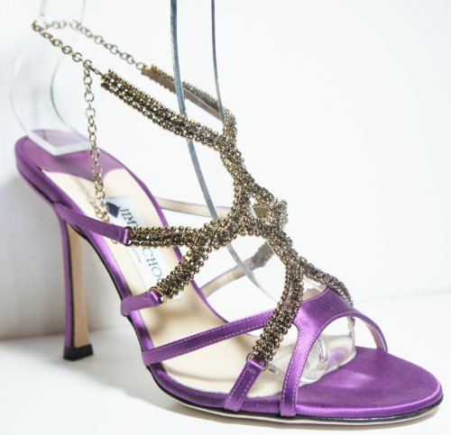 Jimmy Choo  Music, Sandales pour femme Violet Purple Satin & Golden Beads 37 (4.5 UK)