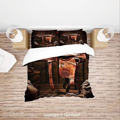 (FashSam Luxury 4 Pieces Duvet Cover Bedding Set American West Traditional Authentic Style Rodeo Cowboy Saddle Wood Ranch Barn Image for Family(Single))
