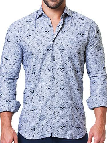 Maceoo Mens Designer Dress Shirt - Stylish & Trendy - Fibonacci Rocker Grey - Tailored Fit (Collar Shirt Italian Dress Cotton)