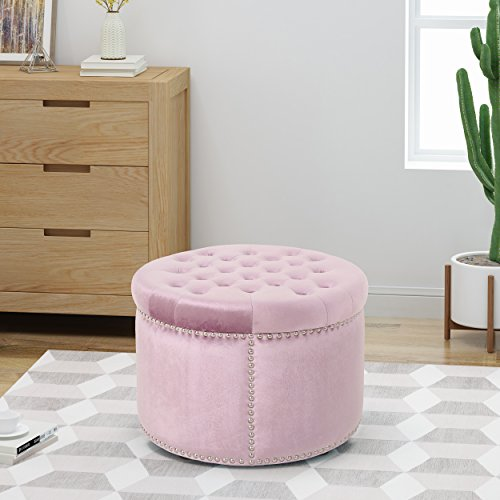 Carlos Glam Velvet Tufted Ottoman, Light Lavender