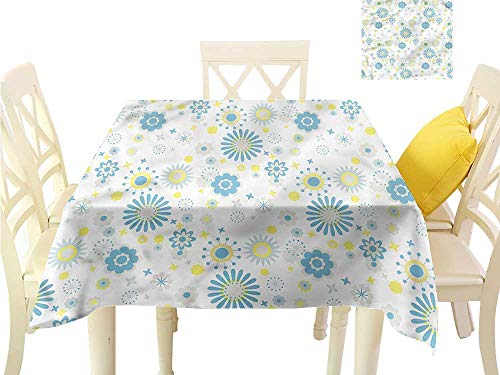 WilliamsDecor Kitchen Table Cover Yellow and Blue,Soft Spring Pattern Fabric Tablecloth W 70