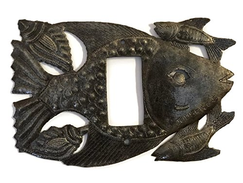 Recycled Metal Rocker Switch Plate Cover in Fish Design From Haiti 9