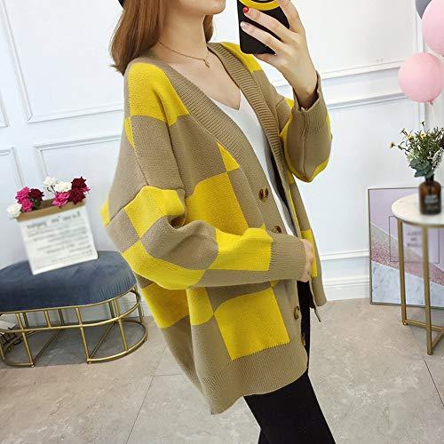 De Llxym Tamaño yellow Y Yellow Cardigan Mujer Punto Gran Plaid Invierno El Suéter Capa onesize Suelto Suelta Otoño gBrRdwqx7g