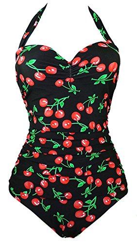 Kaured Sexy Charming Retro Black Vintage Flattering Cherry Print One Piece Swimsuit Bathing suit L BlackcherryL(US6-8)