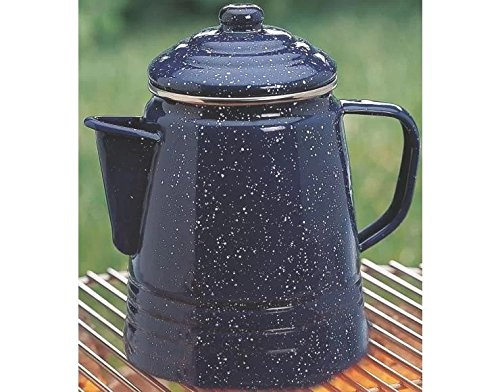 Coffee Percolator 9 Cups Capacity Made of Stainless Steel in Blue Finish 8.3'' H x 5.8'' W x 5.8'' D in. by Coleman