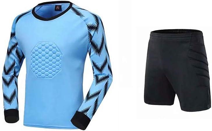 Fútbol Anti Choques Uniforme Portero Manga Larga Pantalones Cortos Atuendo Traje Portero Camisa Dragón (Color : Blue, Size : XL): Amazon.es: Hogar